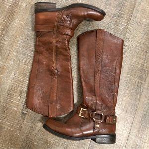 Miz Mooz Cognac Knee High Boots 1/2 zip